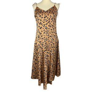 Forever 21 Cheetah Print Long Silk Maxi Dress